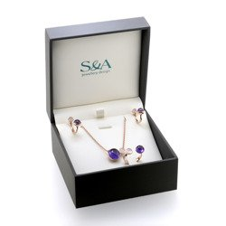 Gold plated set with rose quartz and amethyst