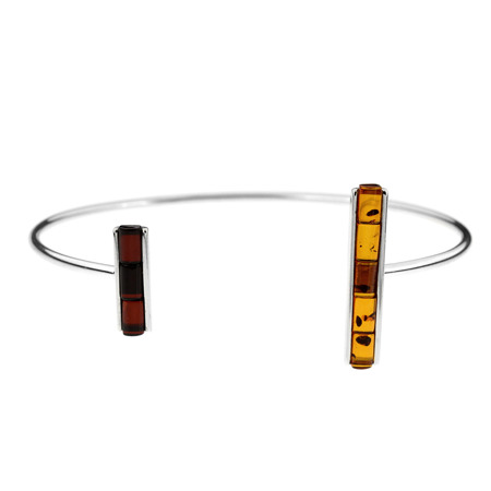 Silver bracelet with amber