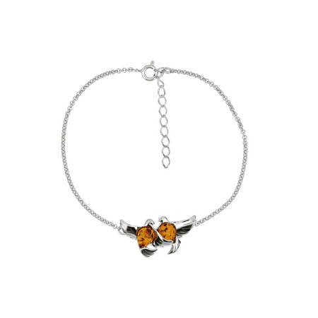 Silver bracelet with amber - doves