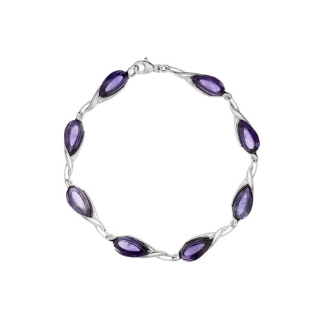 Silver bracelet with amethyst