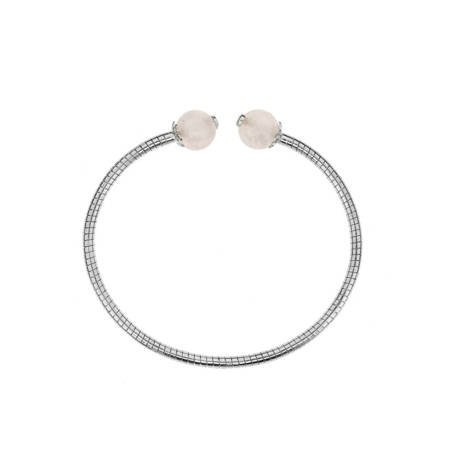 Silver bracelet with rose quartz