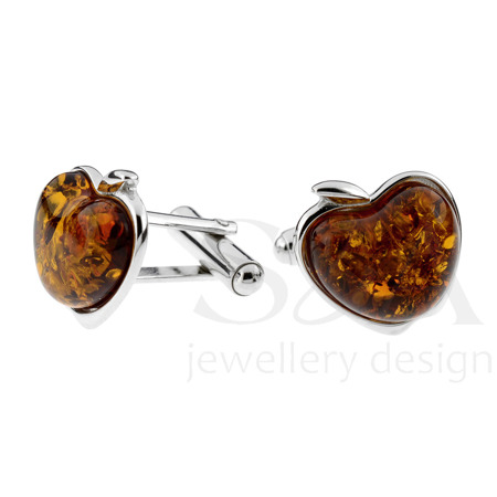 Silver cufflinks with amber