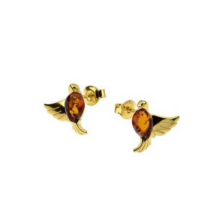 Silver earrings with amber -  doves