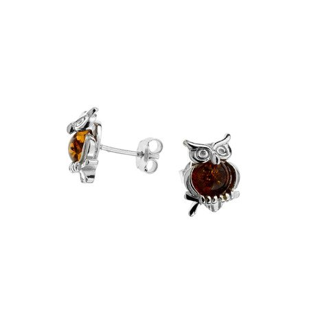 Silver earrings with amber - owl