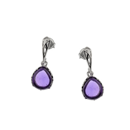 Silver earrings with amethyst