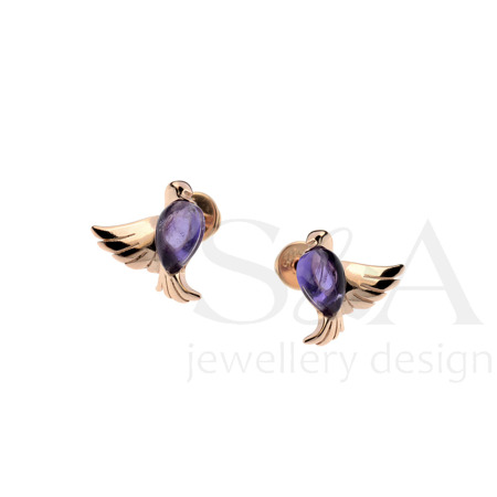 Silver earrings with amethyst -  doves