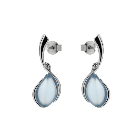 Silver earrings with blue agat