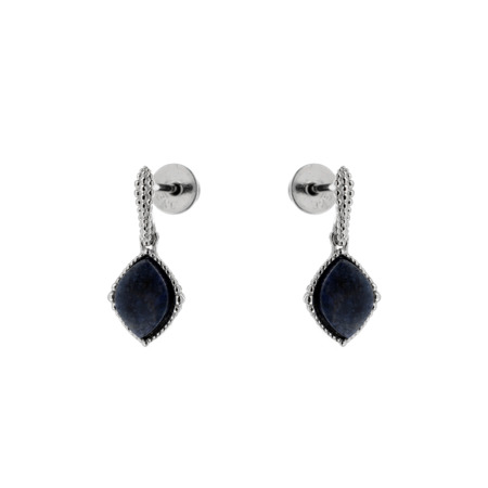 Silver earrings with dumortierite