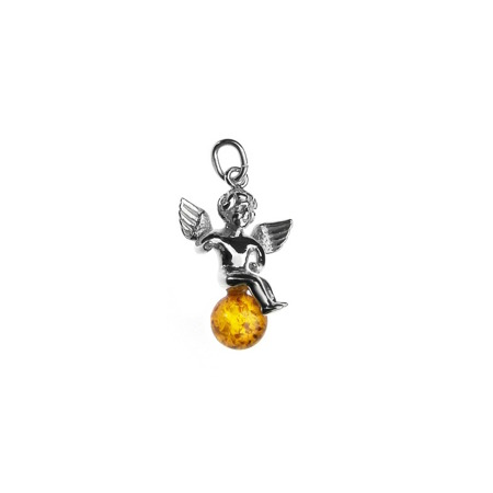 Silver pendant with amber - angel