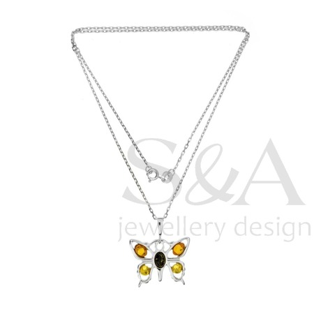 Silver pendant with amber - butterfly