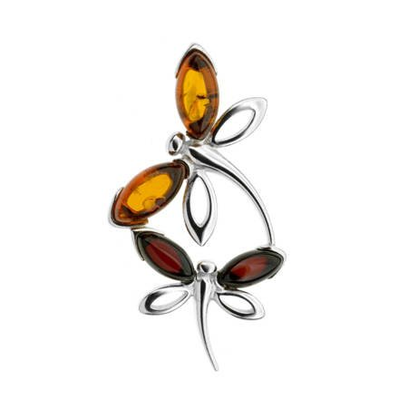 Silver pendant with amber - dragonfly