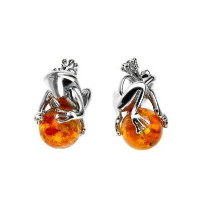 Silver pendant with amber - frog