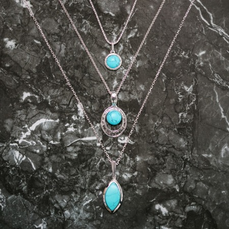 Silver pendant with turquoise