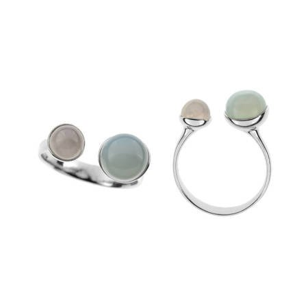Silver ring with agate and quartz
