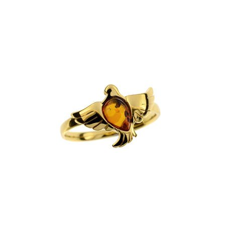 Silver ring with amber -  dove