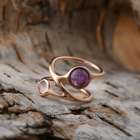 Silver ring with ametyst and rose quartz
