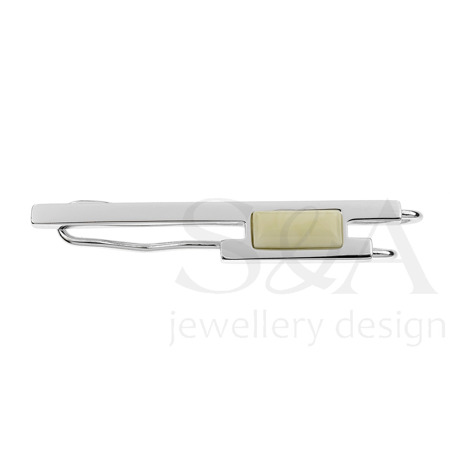 Silver tie clip with amber
